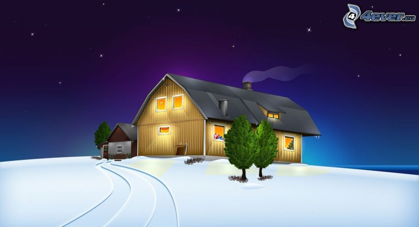 hus, träd, snö
