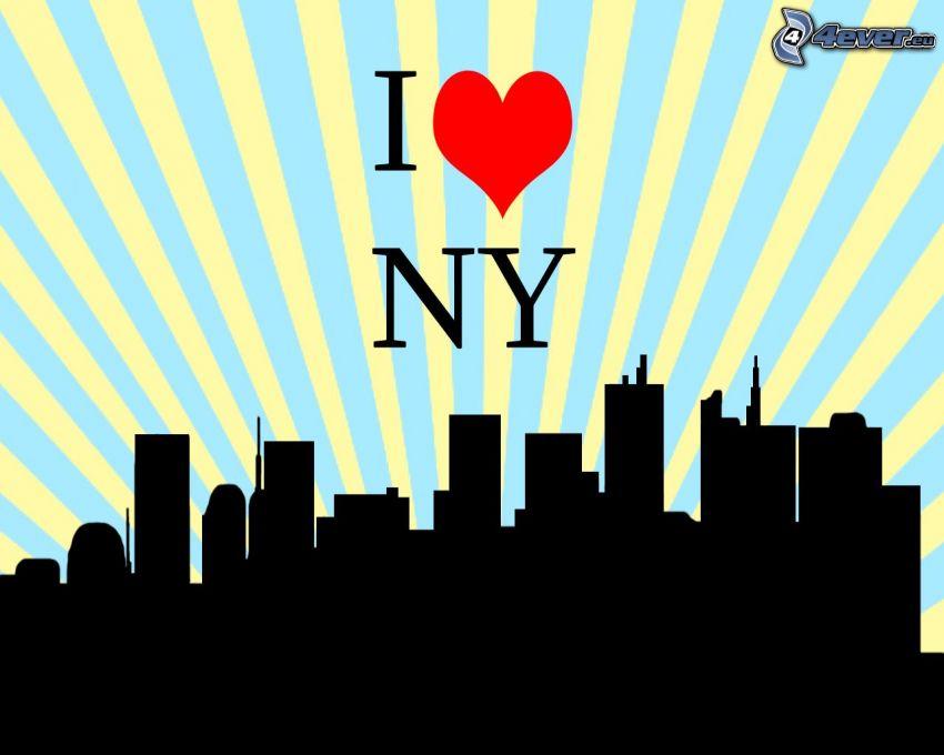 I love NY, silhuett av stad, skyskrapor