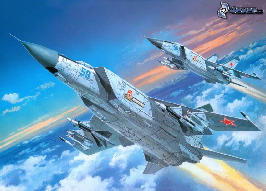 jaktplan, MiG-25, ovanför molnen