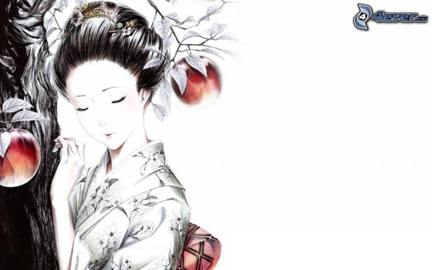 Japansk kvinna, träd, röda äpplen