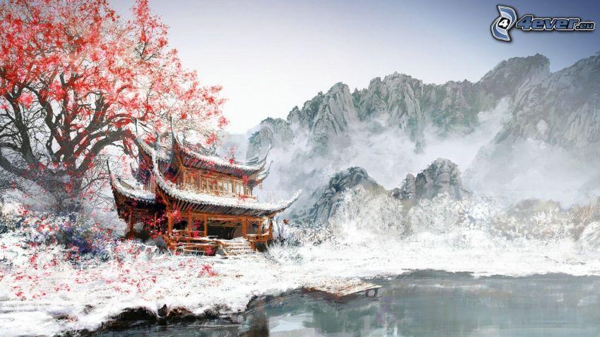 Japanskt hus, snöklädda berg, träd, målning, bild