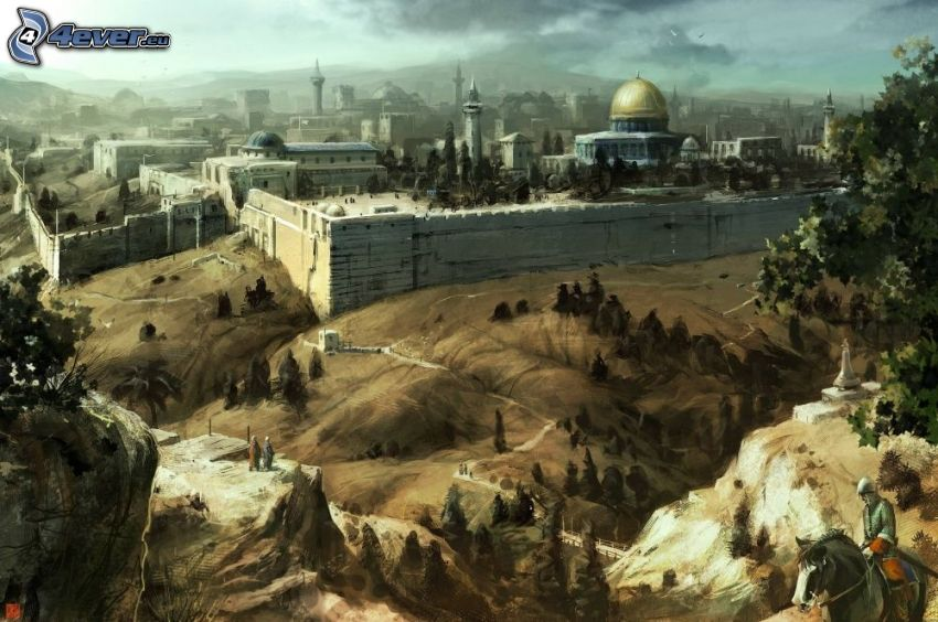 Jerusalem, Dome of the Rock, tecknad stad