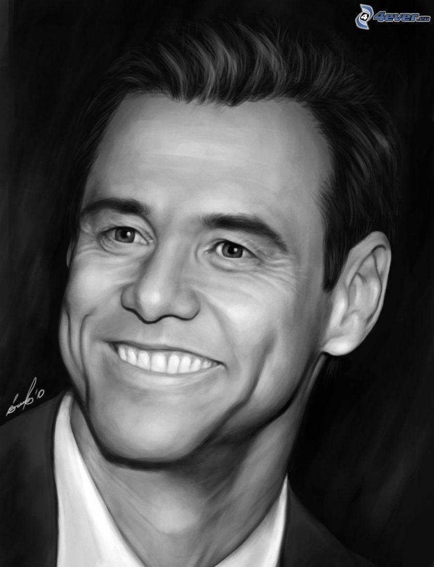 Jim Carrey, svart och vitt, teckning