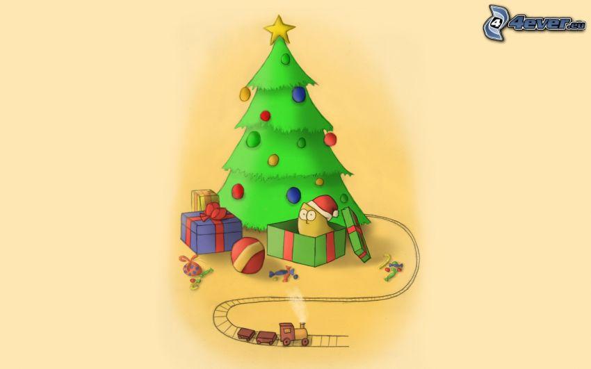 julgran, gåvor, trätåg