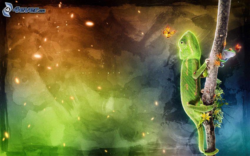 kameleont, trädgroda, fjärilar, gren