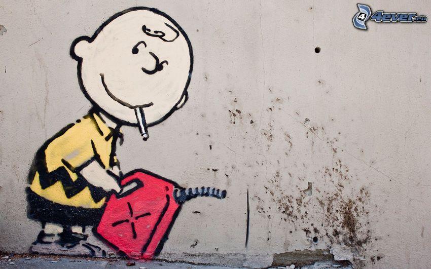 karaktär, bensin, graffiti