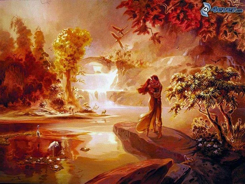 kärlek, landskap, tecknat