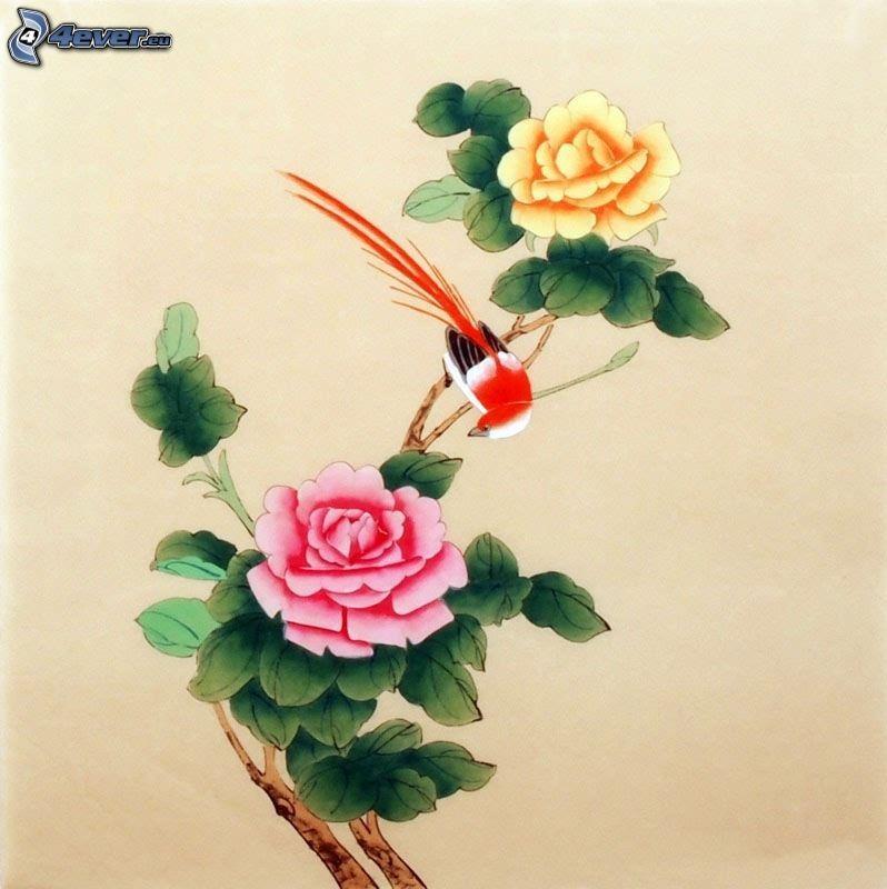 kinesisk ros, fågel