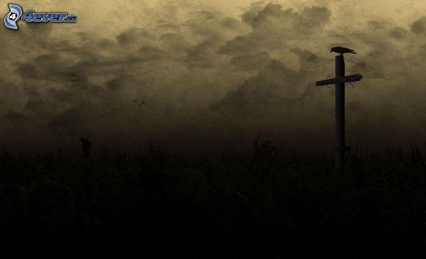 kråka, siluett av fågel, kors, regn
