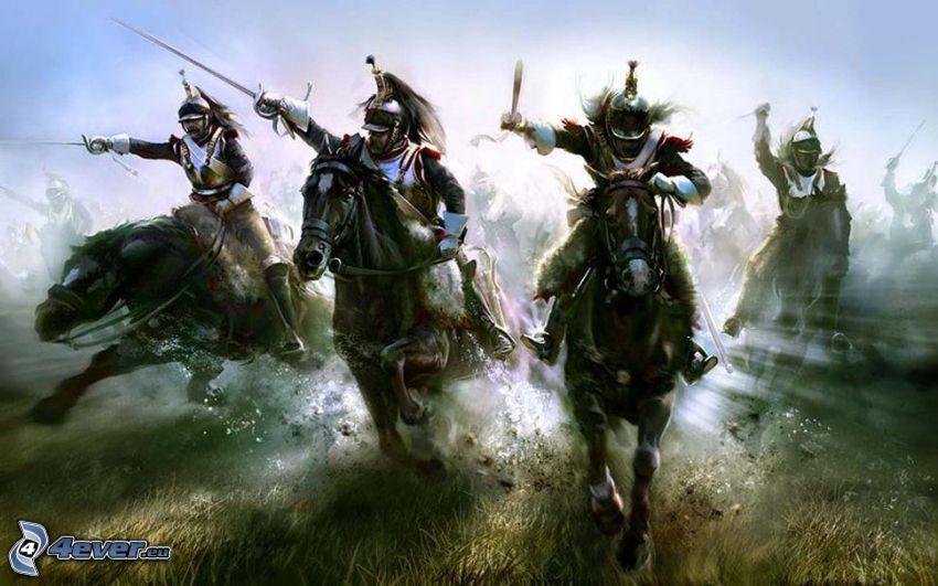 krigare, hästar