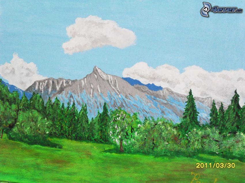 Kriváň, Höga Tatras, Slovakien, äng, berg, natur, barrskog
