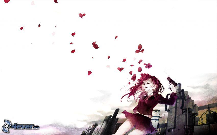 kvinna, flicka med vapen