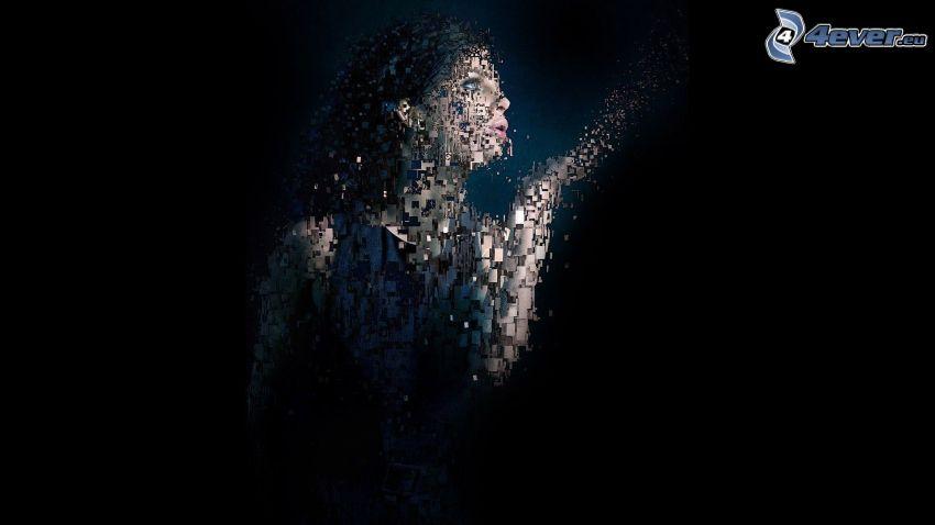 kvinna, mosaik