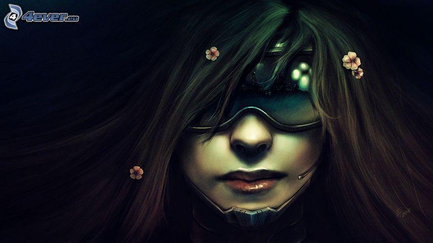 kvinna med mask, tecknad flicka