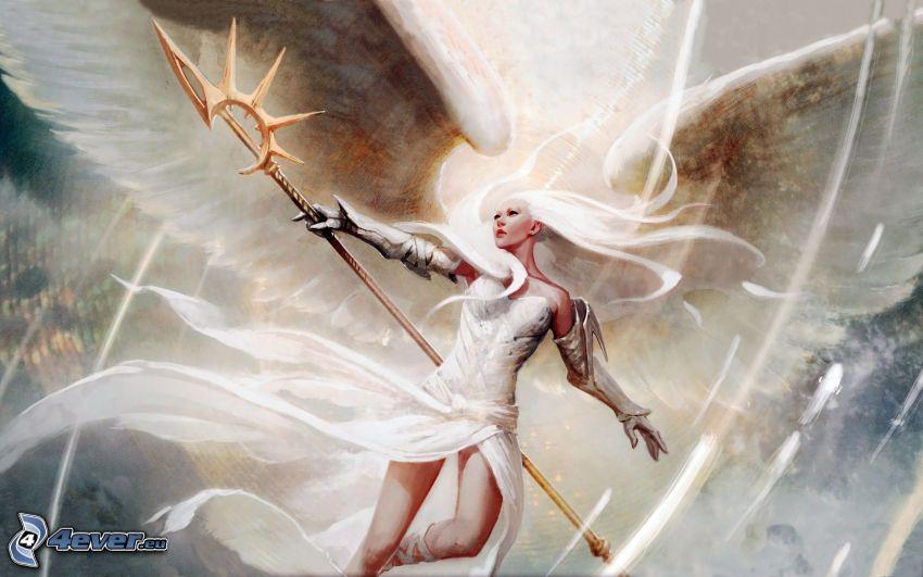 kvinna med vapen, ängel