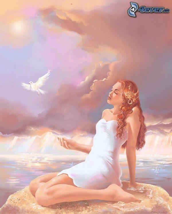 kvinna på klippa, duva, vila, hav, himmel, svag sol