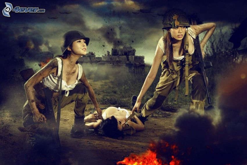 kvinnliga soldater, krig