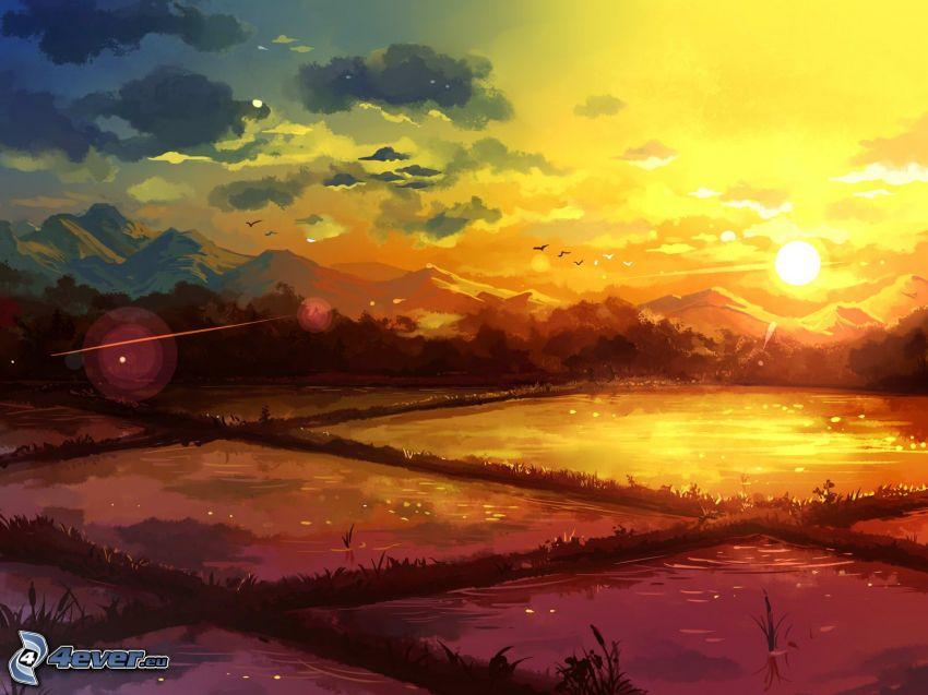 landskap, bergskedja, orange solnedgång