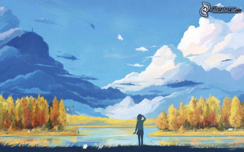 landskap, sjö, färggranna träd, moln, tjej
