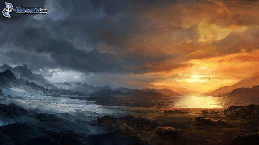 landskap, solnedgång