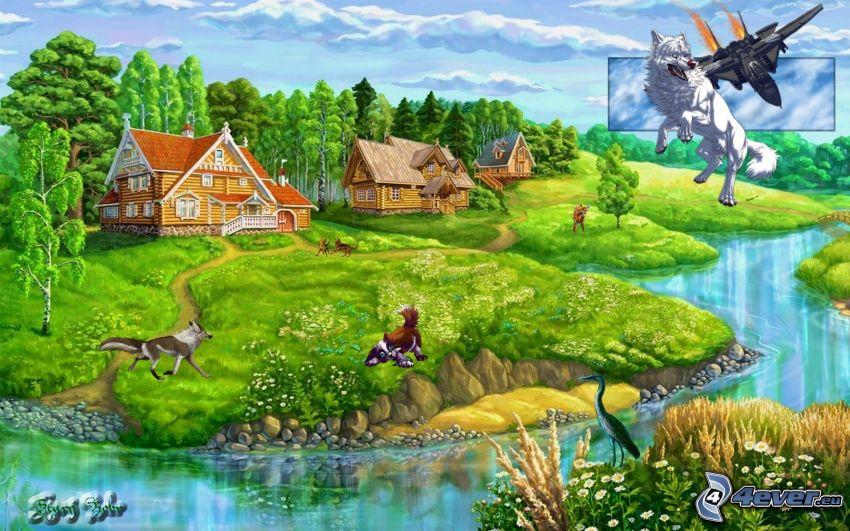 landskap, stugor, flod