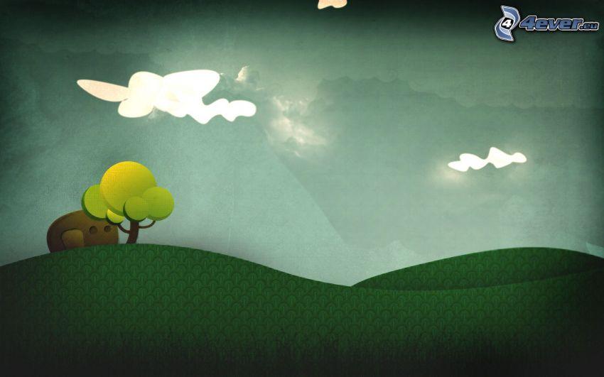 landskap, träd, moln