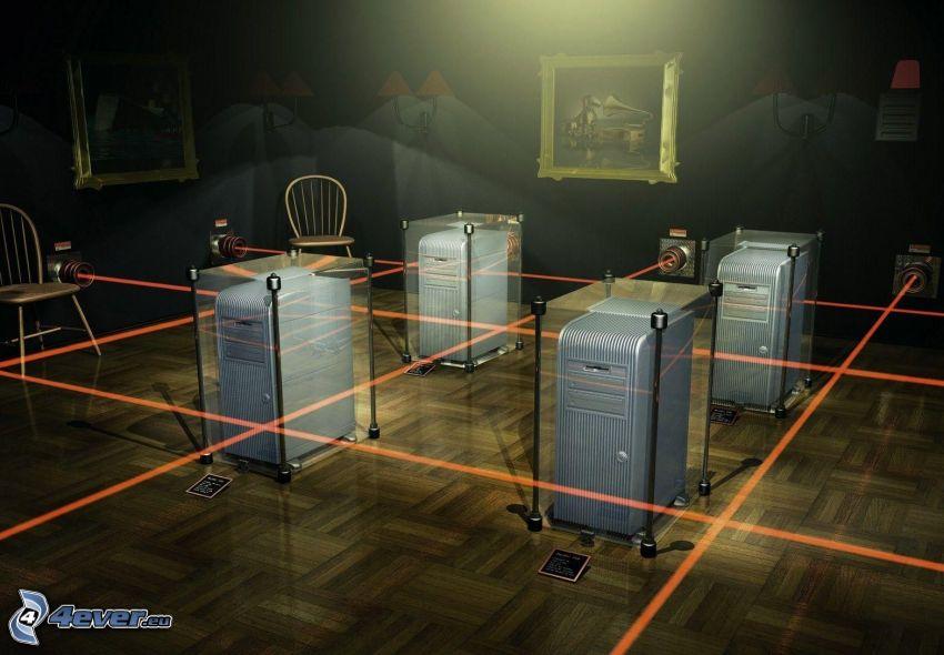 laserstrålar, rum