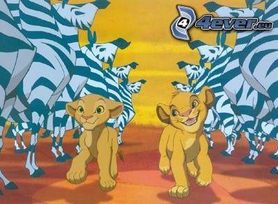 Lejonkungen, Simba, Nala, zebror