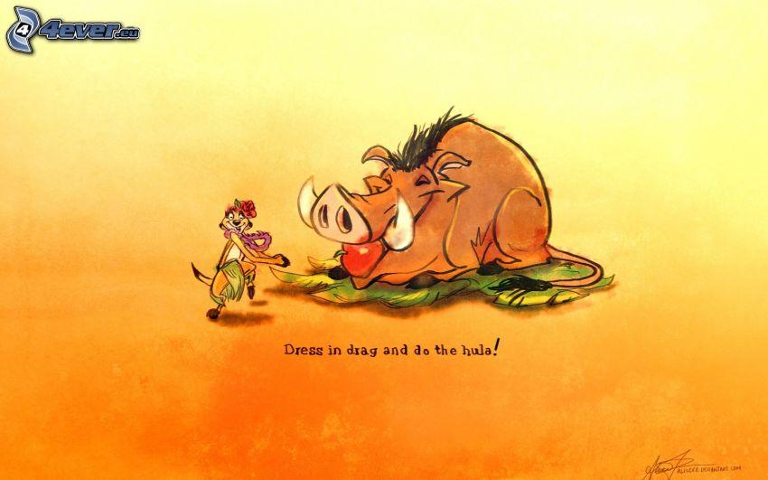 Lejonkungen, vildsvin, roligt djur