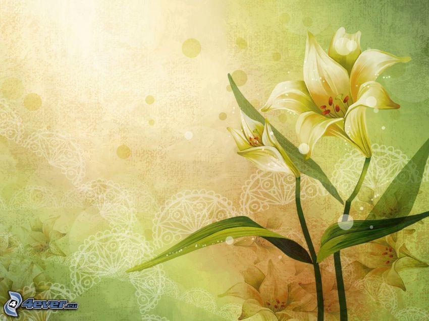 liljor, gul bakgrund