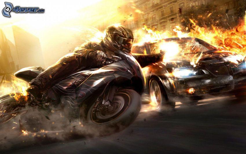 lopp, motorcykelförare, bil, fart, flamma