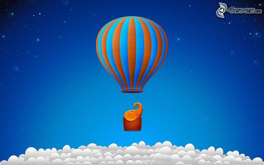 luftballong, elefant, ovanför molnen
