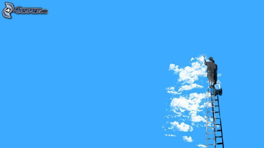 målare, moln