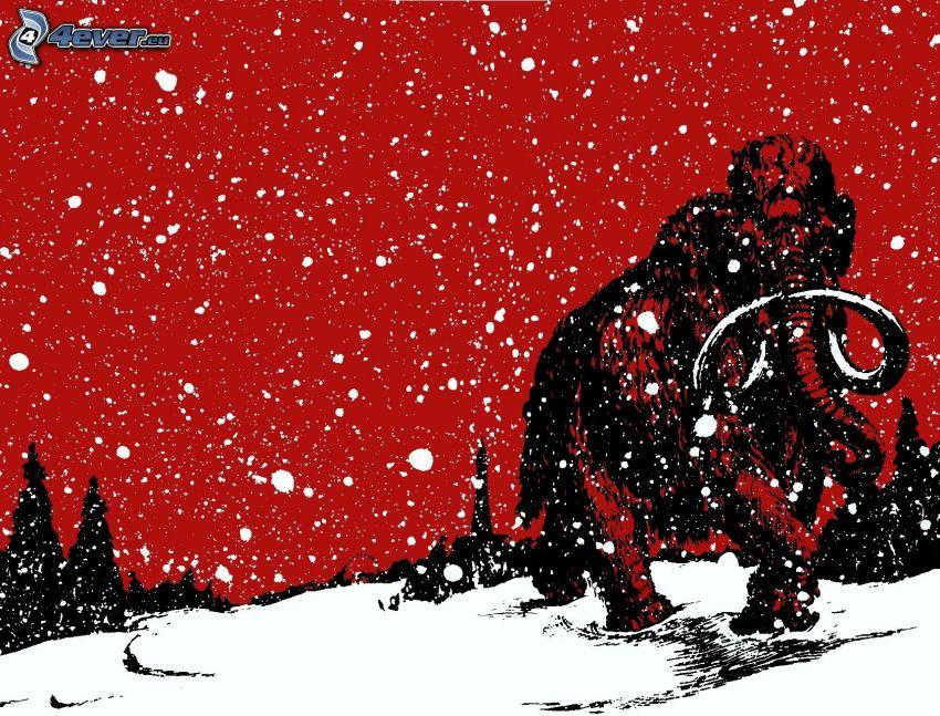 mammut, snöfall