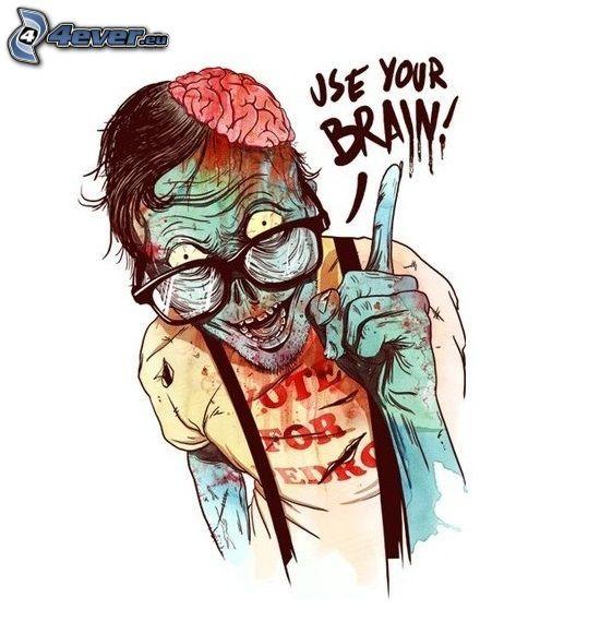 man, glasögon, hjärna