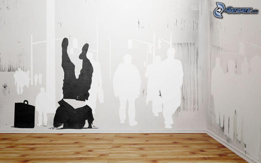 man, resväska, människor, vägg