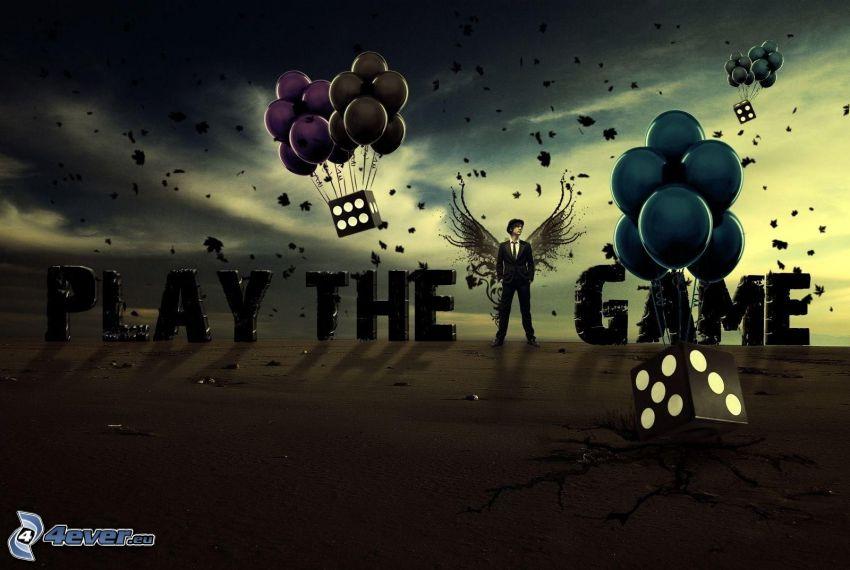 man i kostym, vingar, tärning, ballonger, bokstäver