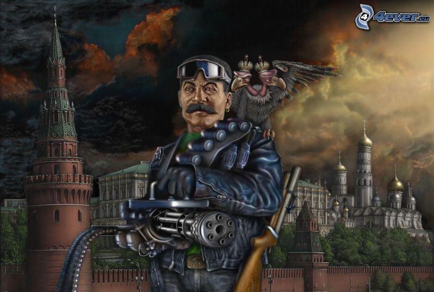 man med vapen, Kremlin, maskingevär