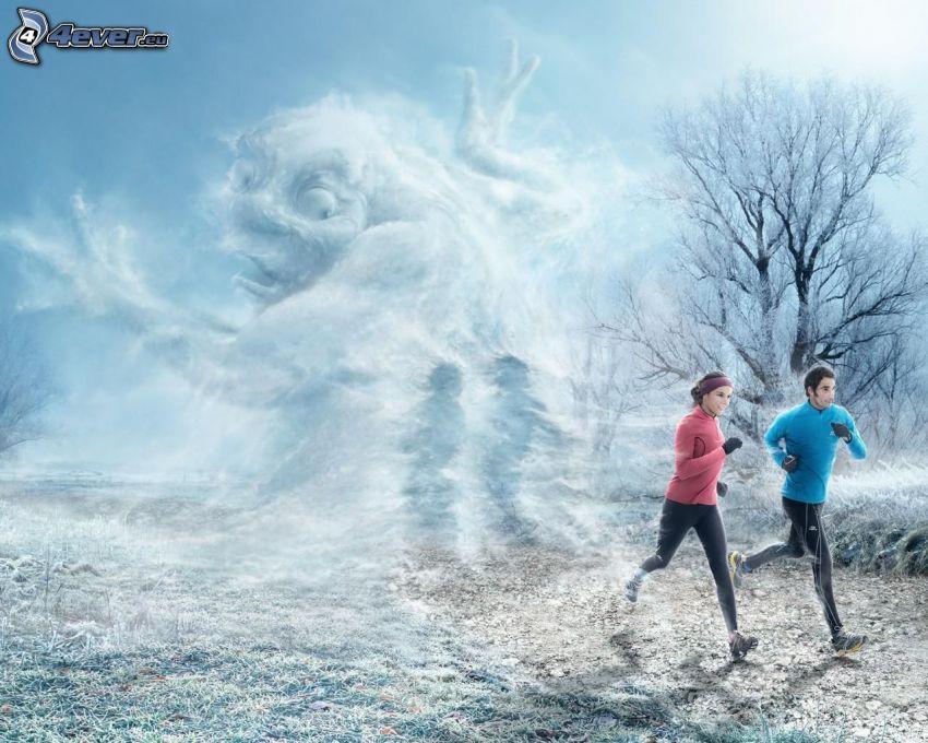 man och kvinna, springa, monster, snö