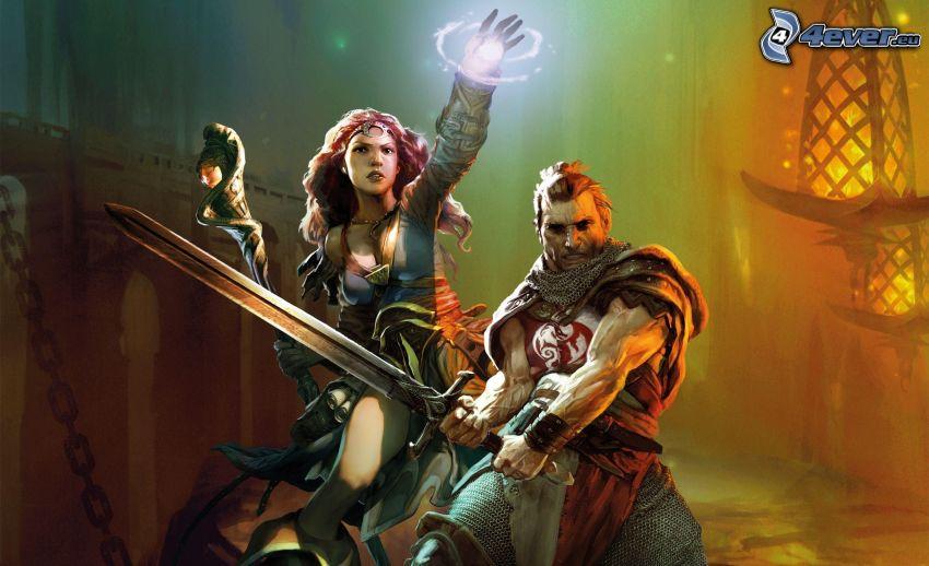 man och kvinna, svärd