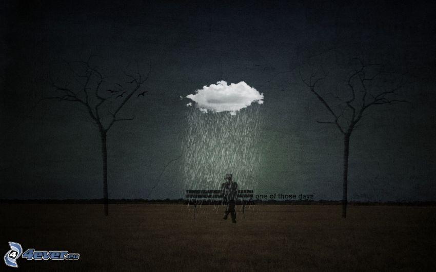 man på bänk, regn