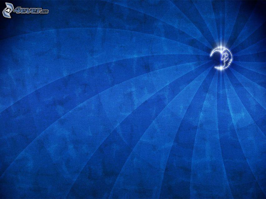 måne, blå bakgrund, bälten
