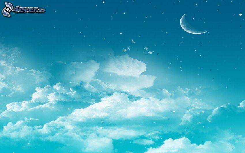 måne, moln