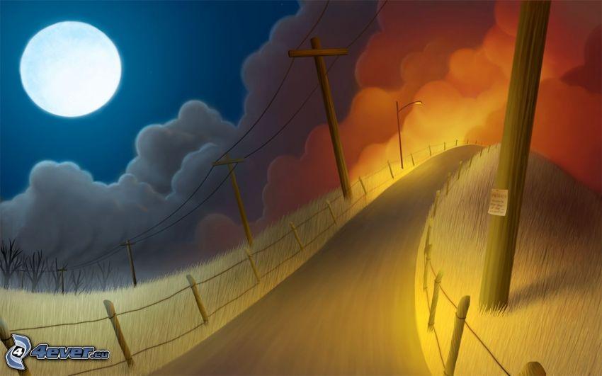 måne, väg, elledningar
