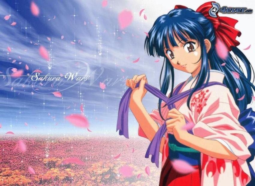 Manga flicka, Sakura, kronblad, blått hår