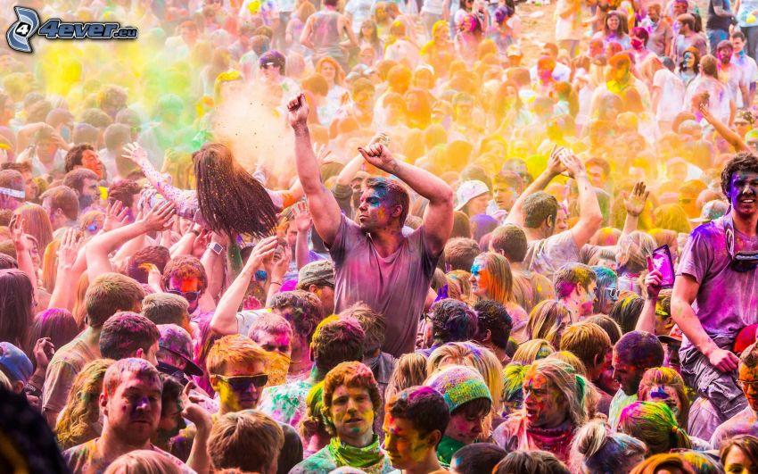 människor, koncept, regnbågsfärger