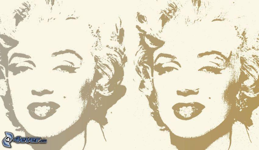 Marilyn Monroe, tecknat ansikte