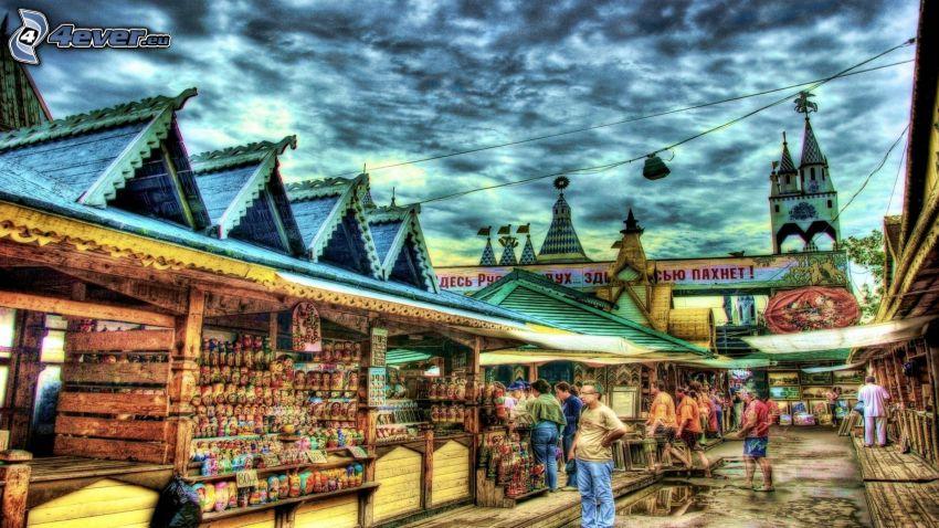 marknadsplats, stånd, HDR