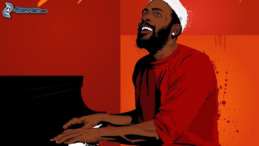 Marvin Gaye, mörkhyad man, pianist