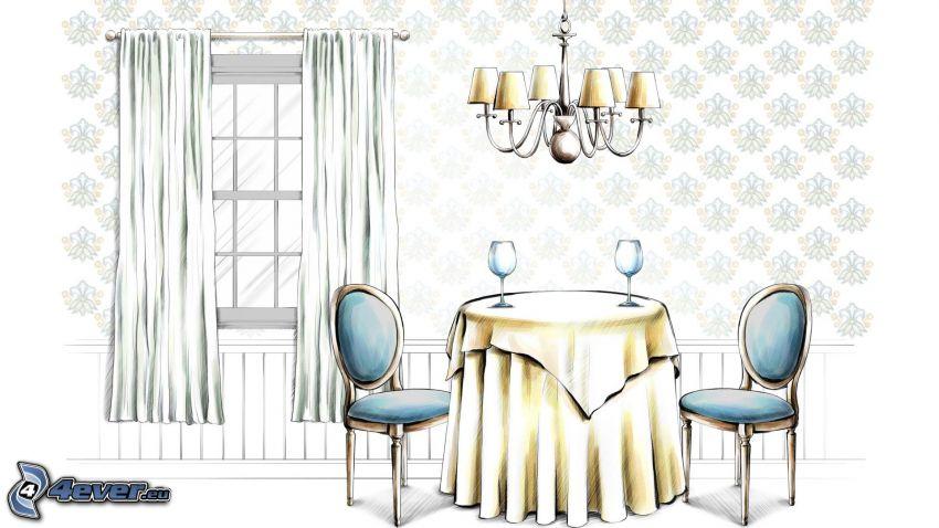 matsal, tecknat, fönster, gardin, lampa, bord, stolar